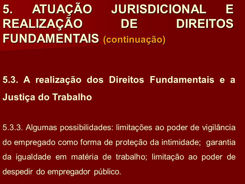 5. ATUAÇÃO JURISDICIONAL E REALIZAÇÃO DE DIREITOS FUNDAMENTAIS (continuação)
