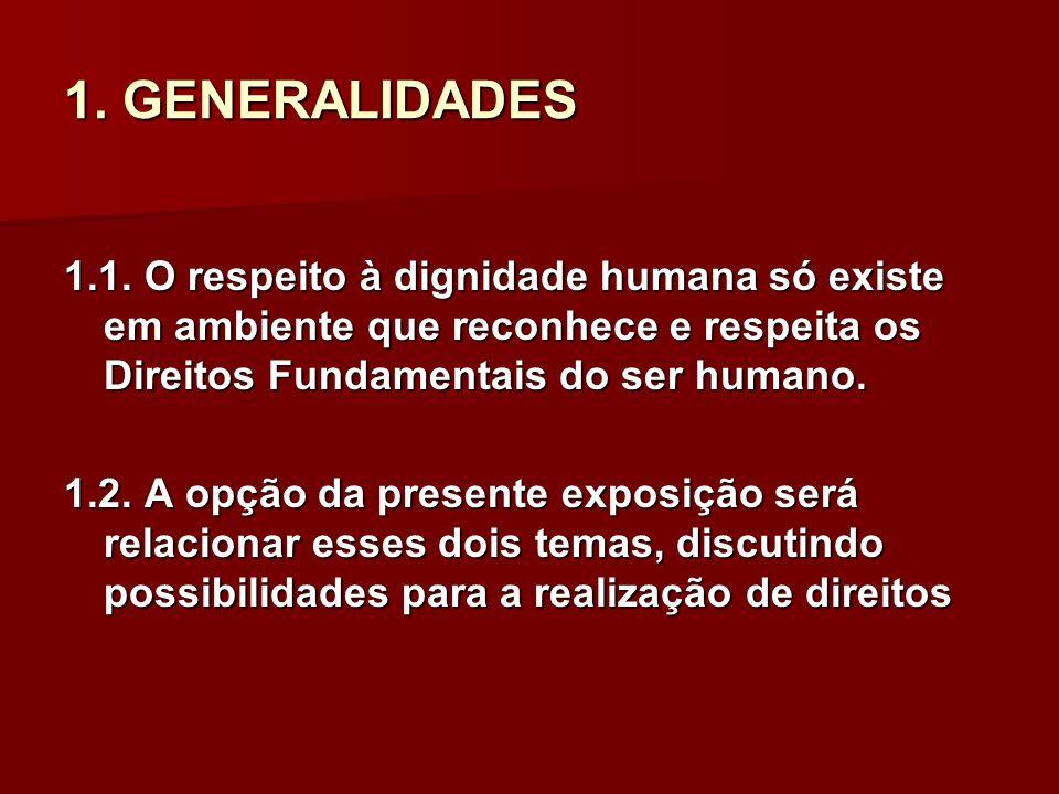 1. GENERALIDADES 1.1. O respeito à dignidade humana só existe em ambiente que reconhece e respeita os Direitos Fundamentais do ser humano.