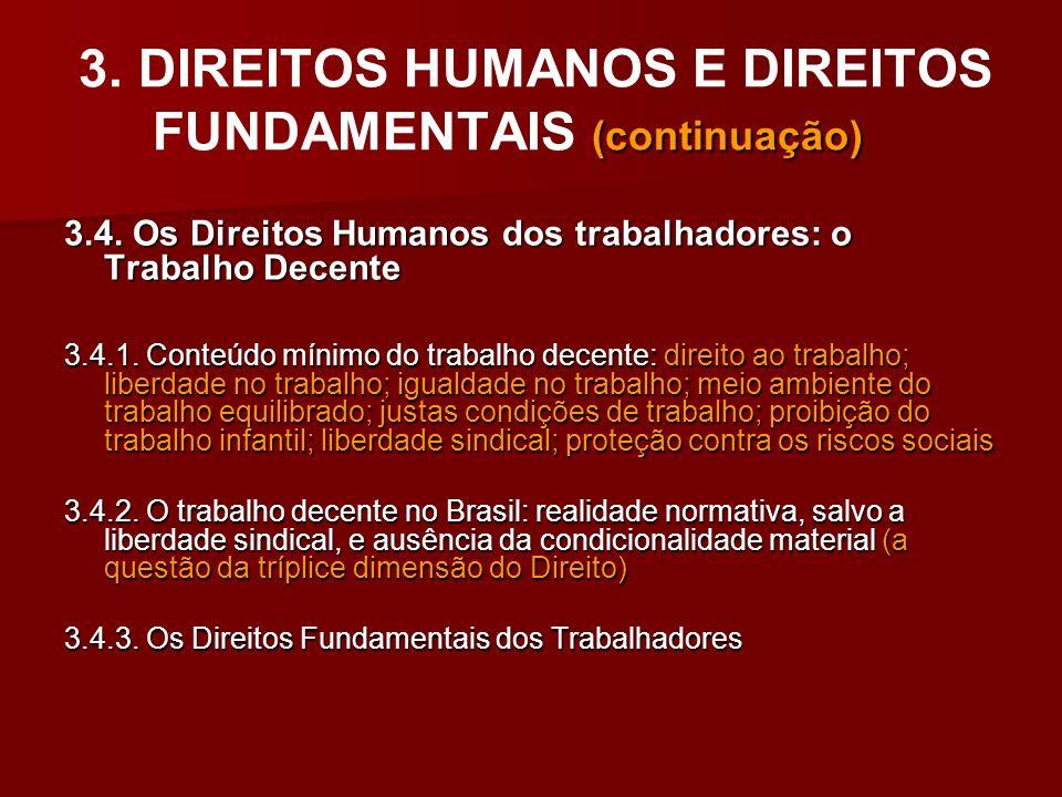 3. DIREITOS HUMANOS E DIREITOS FUNDAMENTAIS (continuação)