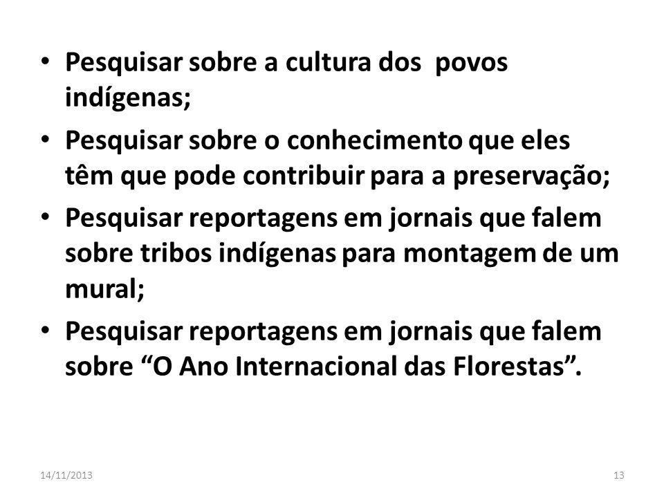 Pesquisar sobre a cultura dos povos indígenas;