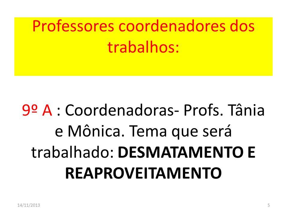 Professores coordenadores dos trabalhos: 9º A : Coordenadoras- Profs