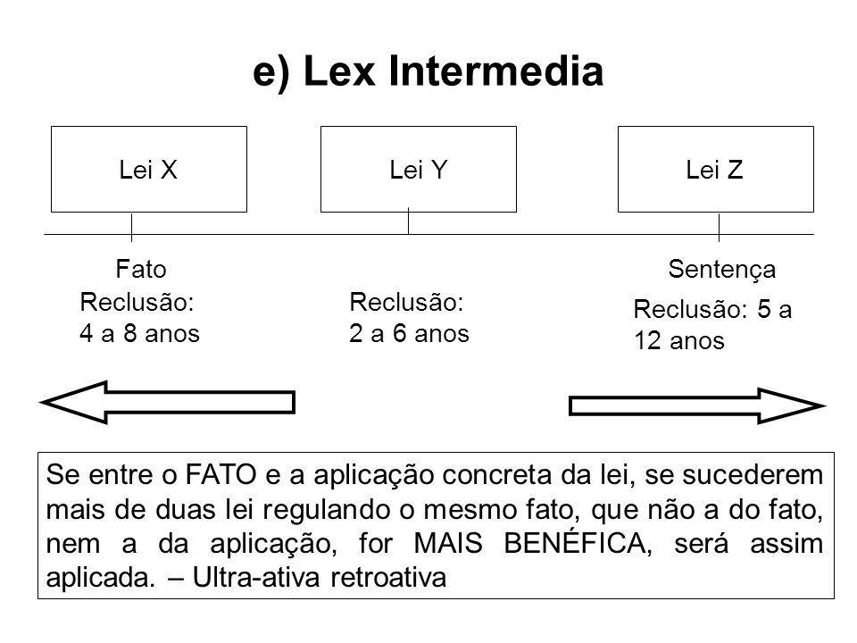 e) Lex IntermediaLei X. Lei Y. Lei Z. Fato. Sentença. Reclusão: 4 a 8 anos. Reclusão: 2 a 6 anos. Reclusão: 5 a 12 anos.