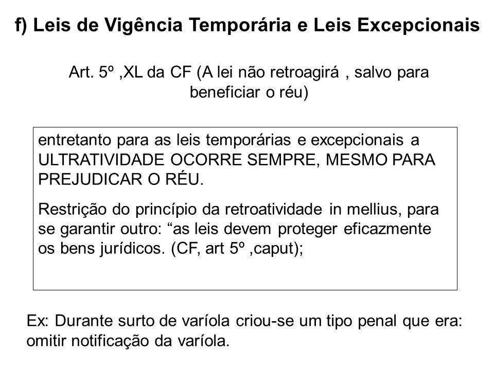 f) Leis de Vigência Temporária e Leis Excepcionais