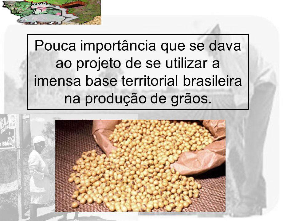 Pouca importância que se dava ao projeto de se utilizar a imensa base territorial brasileira na produção de grãos.