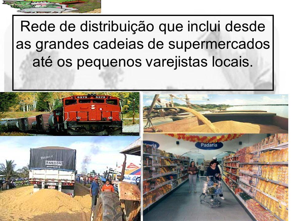 Rede de distribuição que inclui desde as grandes cadeias de supermercados até os pequenos varejistas locais.