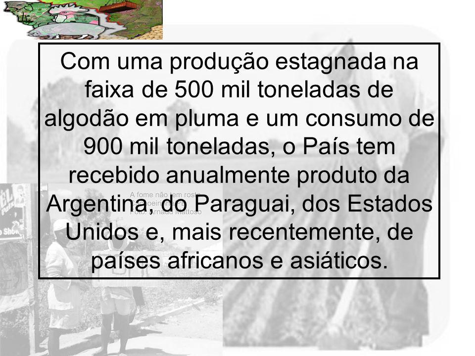 Com uma produção estagnada na faixa de 500 mil toneladas de algodão em pluma e um consumo de 900 mil toneladas, o País tem recebido anualmente produto da Argentina, do Paraguai, dos Estados Unidos e, mais recentemente, de países africanos e asiáticos.