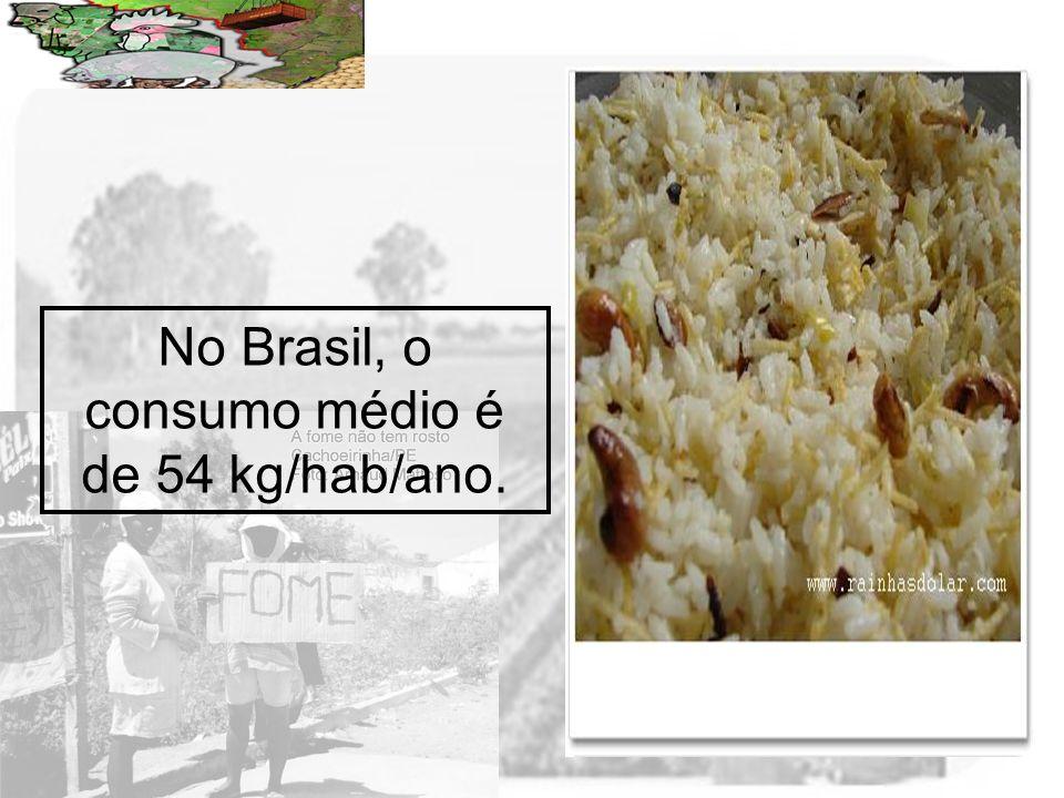 No Brasil, o consumo médio é de 54 kg/hab/ano.