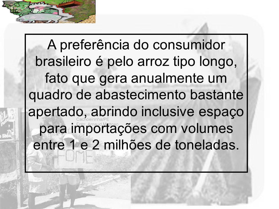 A preferência do consumidor brasileiro é pelo arroz tipo longo, fato que gera anualmente um quadro de abastecimento bastante apertado, abrindo inclusive espaço para importações com volumes entre 1 e 2 milhões de toneladas.