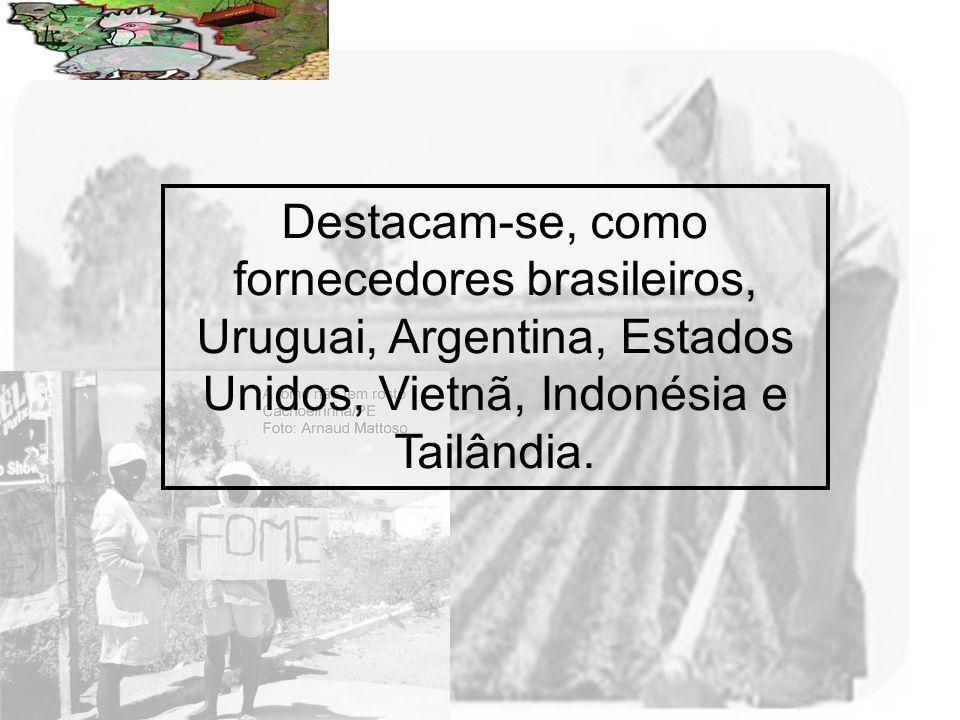 Destacam-se, como fornecedores brasileiros, Uruguai, Argentina, Estados Unidos, Vietnã, Indonésia e Tailândia.