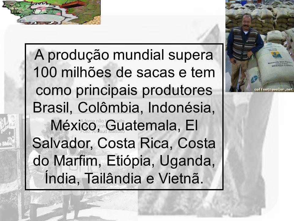 A produção mundial supera 100 milhões de sacas e tem como principais produtores Brasil, Colômbia, Indonésia, México, Guatemala, El Salvador, Costa Rica, Costa do Marfim, Etiópia, Uganda, Índia, Tailândia e Vietnã.