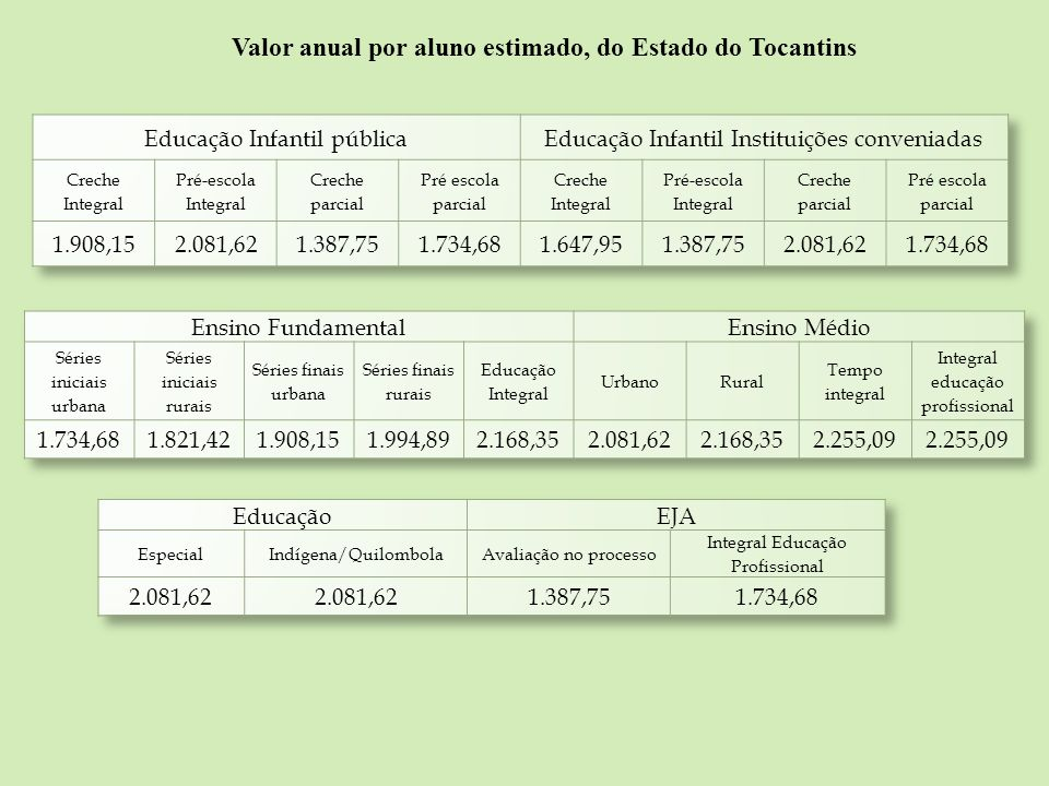 Valor anual por aluno estimado, do Estado do Tocantins