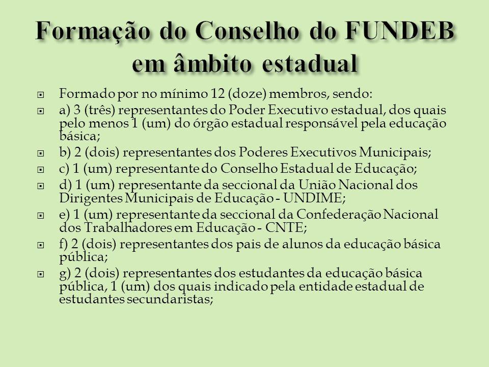 Formação do Conselho do FUNDEB em âmbito estadual