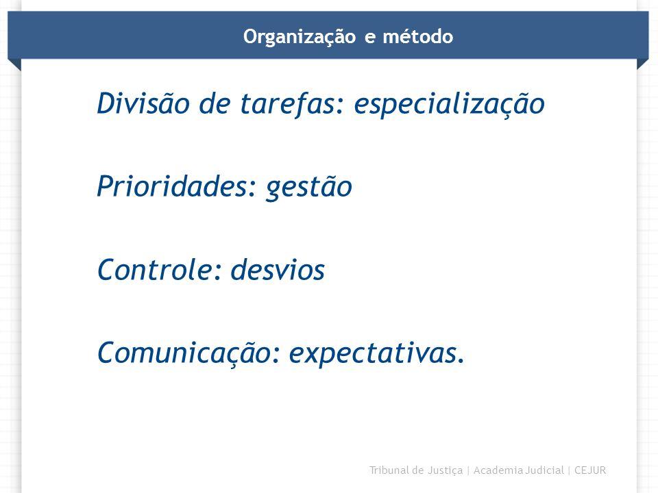 Divisão de tarefas: especialização Prioridades: gestão