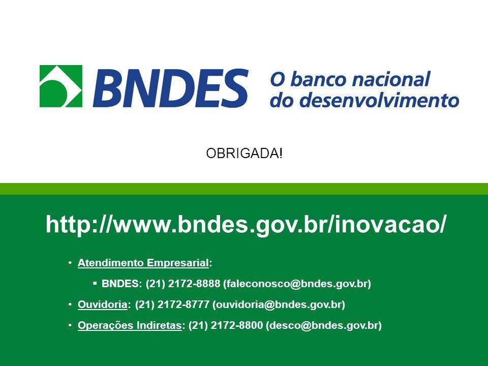 http://www.bndes.gov.br/inovacao/ OBRIGADA! Atendimento Empresarial: