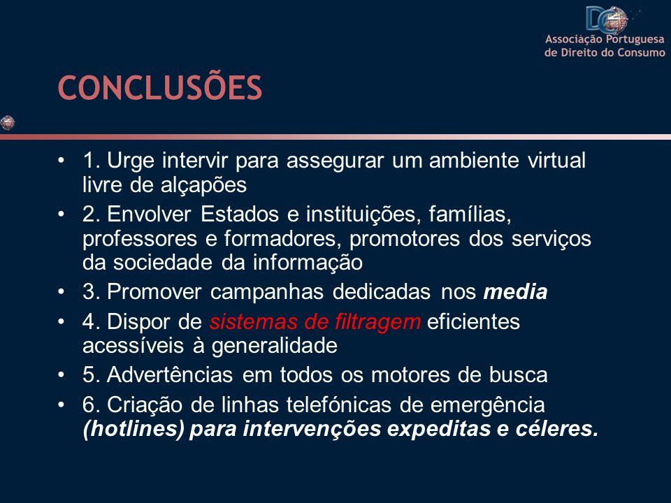 CONCLUSÕES 1. Urge intervir para assegurar um ambiente virtual livre de alçapões.