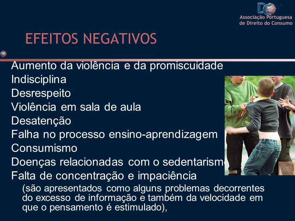 EFEITOS NEGATIVOS Aumento da violência e da promiscuidade Indisciplina