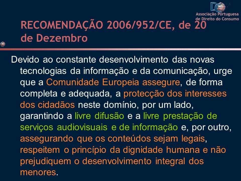 RECOMENDAÇÃO 2006/952/CE, de 20 de Dezembro