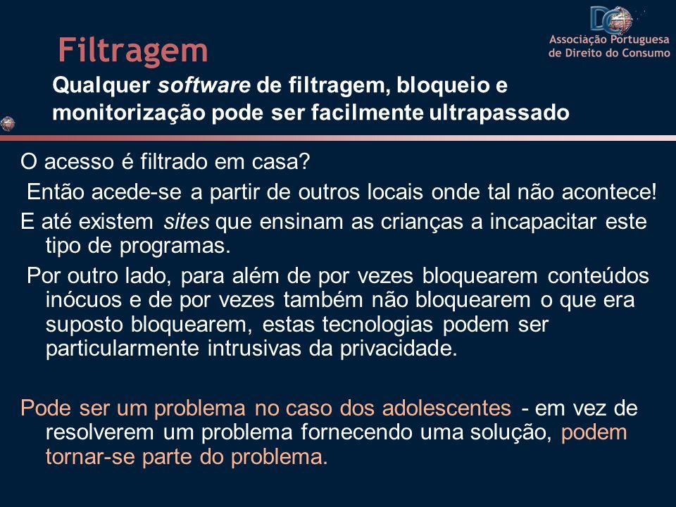Filtragem Qualquer software de filtragem, bloqueio e monitorização pode ser facilmente ultrapassado.