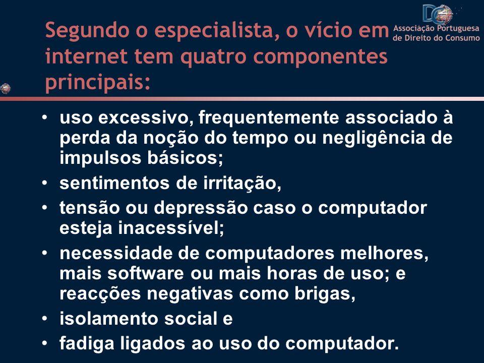 Segundo o especialista, o vício em internet tem quatro componentes principais: