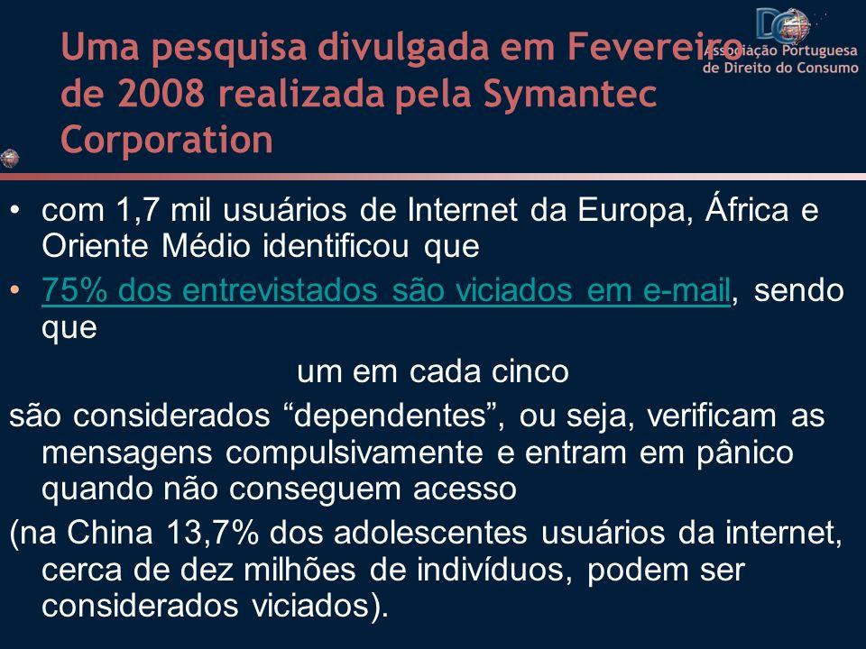 Uma pesquisa divulgada em Fevereiro de 2008 realizada pela Symantec Corporation