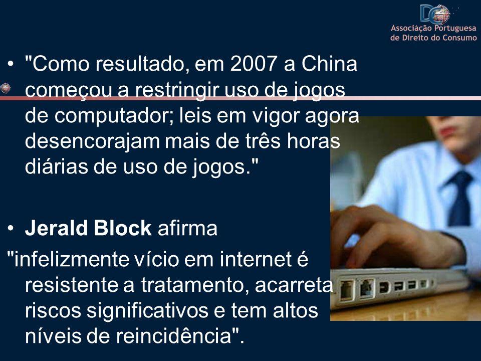 Como resultado, em 2007 a China começou a restringir uso de jogos de computador; leis em vigor agora desencorajam mais de três horas diárias de uso de jogos.