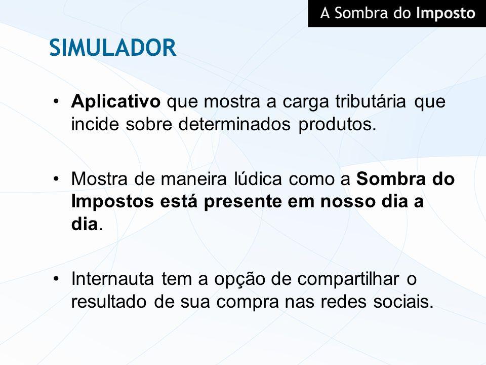SIMULADOR Aplicativo que mostra a carga tributária que incide sobre determinados produtos.