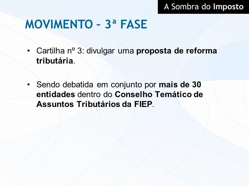 MOVIMENTO – 3ª FASECartilha nº 3: divulgar uma proposta de reforma tributária.