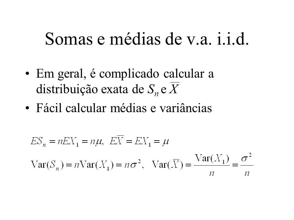 Somas e médias de v.a. i.i.d. Em geral, é complicado calcular a distribuição exata de Sn e X.