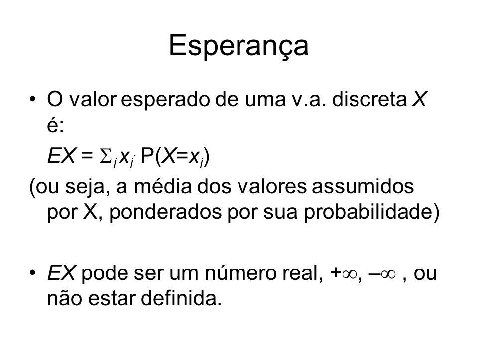 Esperança O valor esperado de uma v.a. discreta X é: