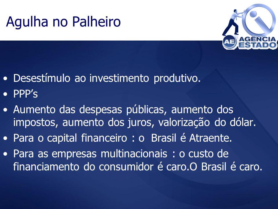 Agulha no Palheiro Desestímulo ao investimento produtivo. PPP's