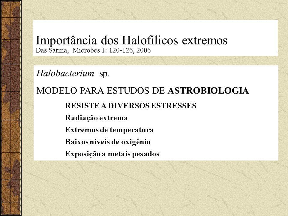 Importância dos Halofílicos extremos Das Sarma, Microbes 1: 120-126, 2006