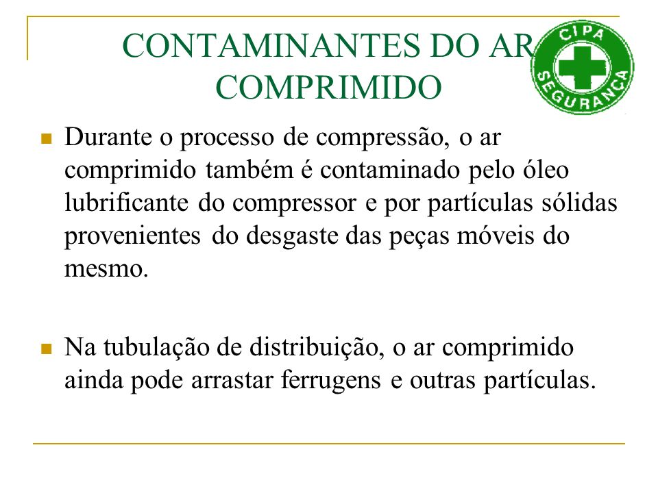 CONTAMINANTES DO AR COMPRIMIDO