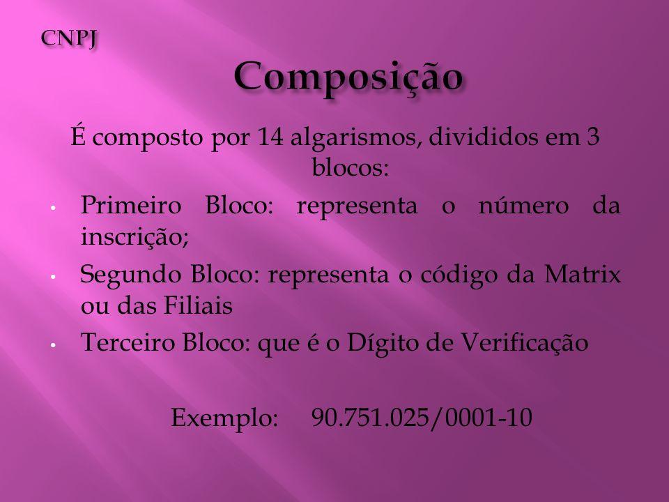 É composto por 14 algarismos, divididos em 3 blocos: