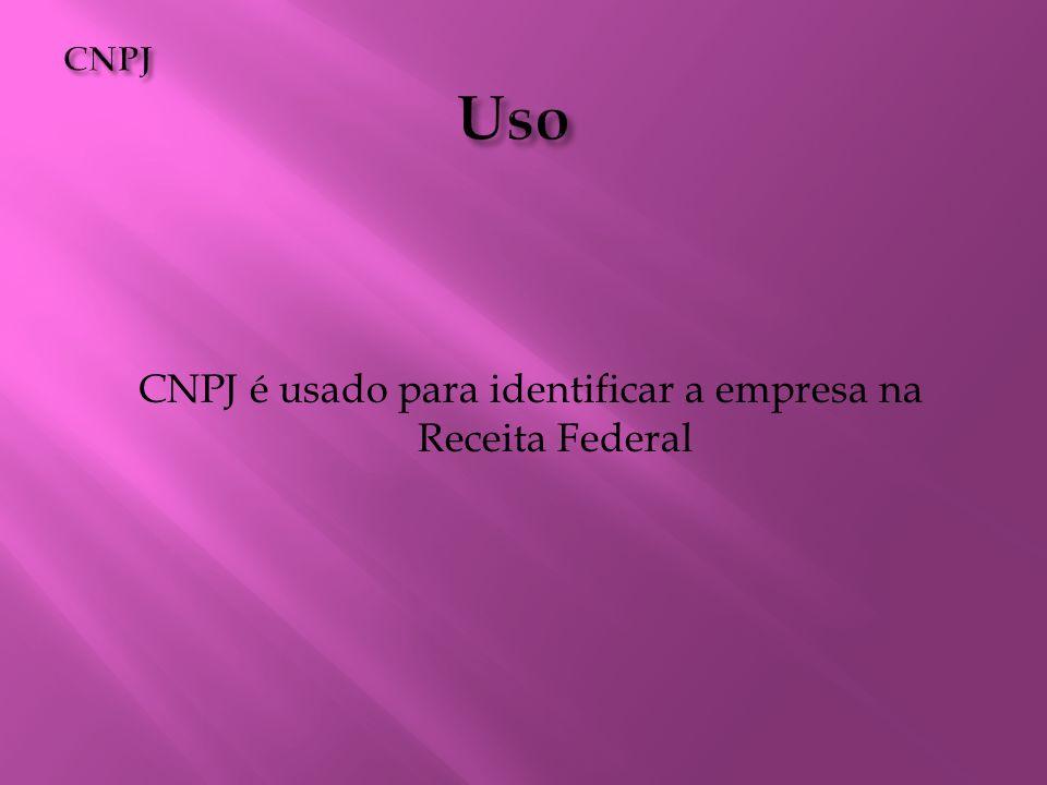 CNPJ é usado para identificar a empresa na Receita Federal