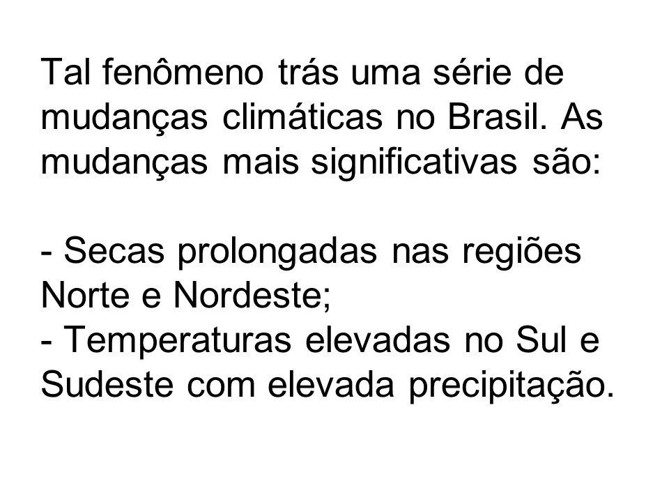 Tal fenômeno trás uma série de mudanças climáticas no Brasil