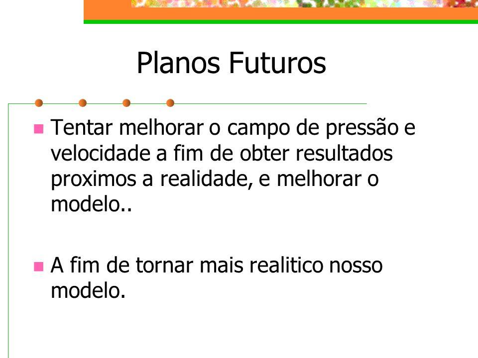 Planos FuturosTentar melhorar o campo de pressão e velocidade a fim de obter resultados proximos a realidade, e melhorar o modelo..