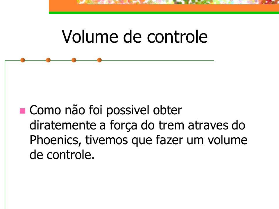 Volume de controleComo não foi possivel obter diratemente a força do trem atraves do Phoenics, tivemos que fazer um volume de controle.