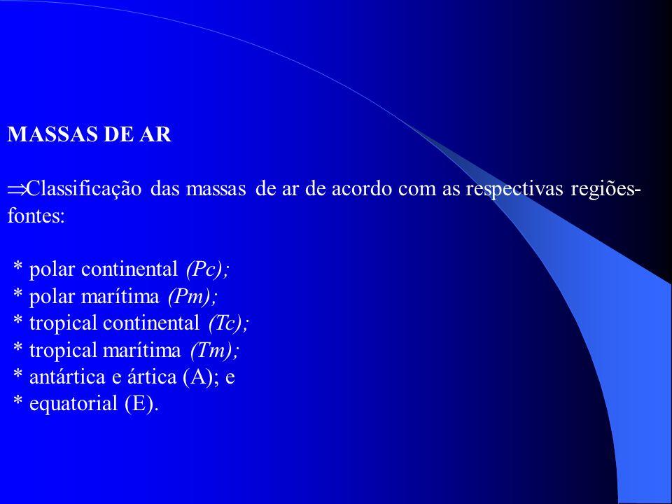 MASSAS DE AR Classificação das massas de ar de acordo com as respectivas regiões-fontes: * polar continental (Pc);