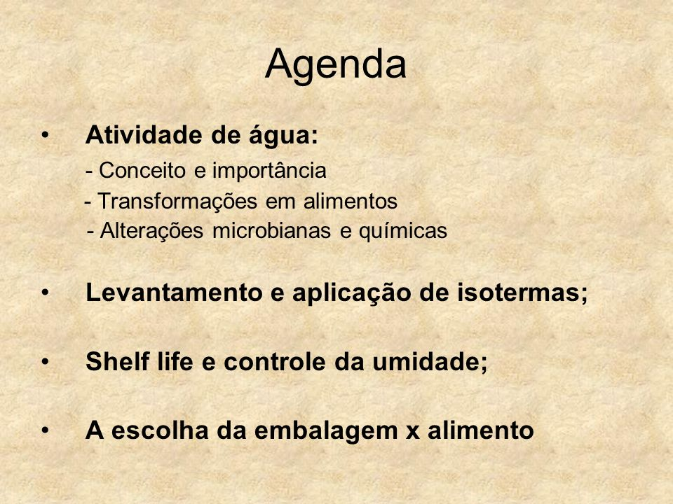Agenda Atividade de água: - Conceito e importância