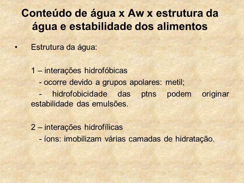 Conteúdo de água x Aw x estrutura da água e estabilidade dos alimentos