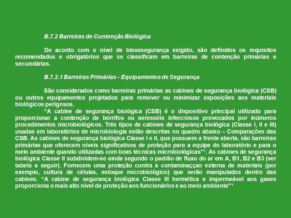 B.7.2 Barreiras de Contenção Biológica