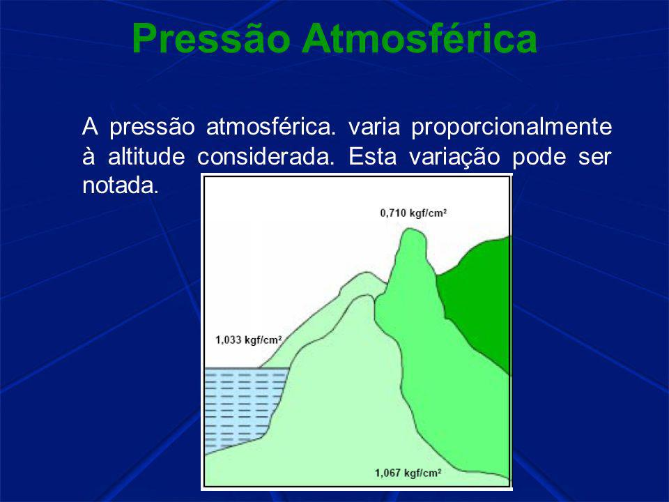 Pressão Atmosférica A pressão atmosférica. varia proporcionalmente à altitude considerada.