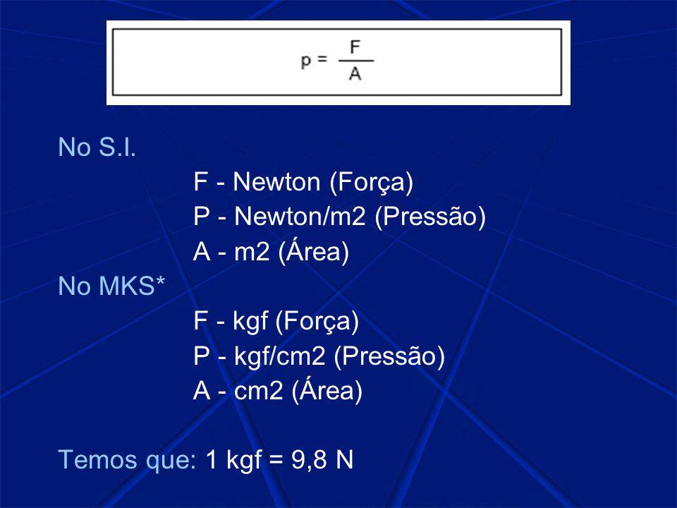 No S.I. F - Newton (Força) P - Newton/m2 (Pressão) A - m2 (Área) No MKS* F - kgf (Força) P - kgf/cm2 (Pressão)