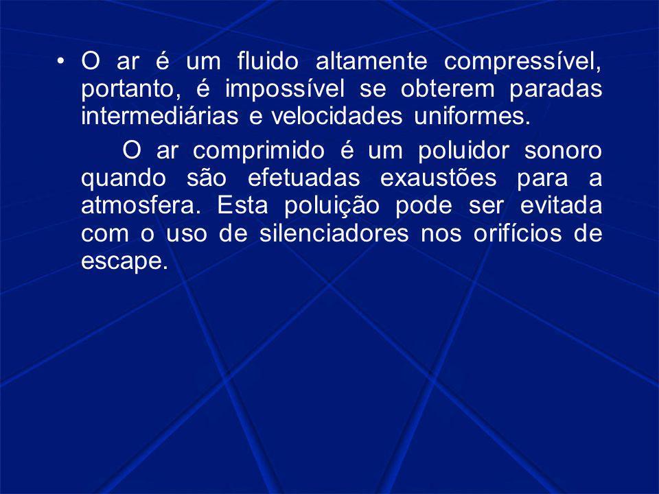 O ar é um fluido altamente compressível, portanto, é impossível se obterem paradas intermediárias e velocidades uniformes.