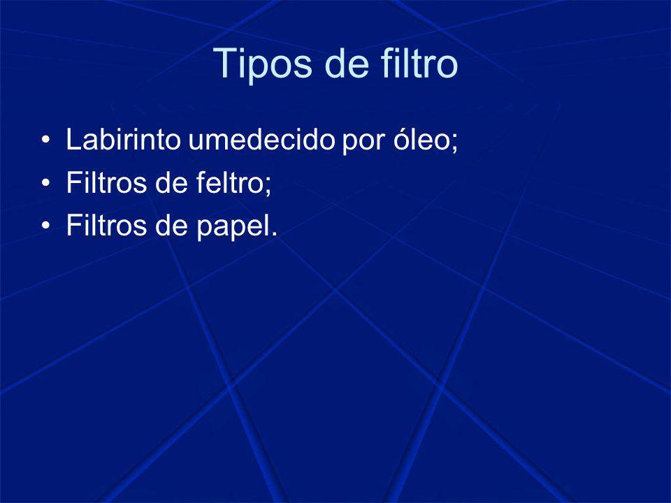 Tipos de filtro Labirinto umedecido por óleo; Filtros de feltro;
