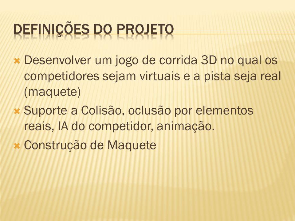 Definições do ProjetoDesenvolver um jogo de corrida 3D no qual os competidores sejam virtuais e a pista seja real (maquete)