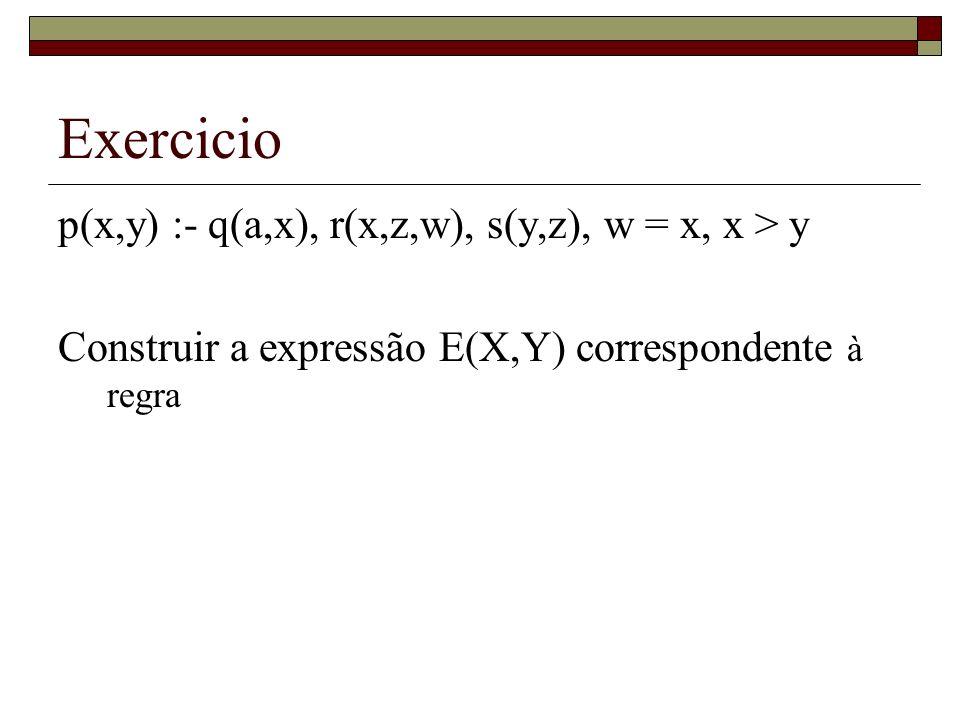 Exercicio p(x,y) :- q(a,x), r(x,z,w), s(y,z), w = x, x > y