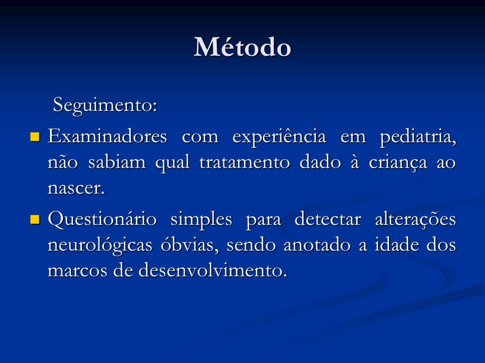 Método Seguimento: Examinadores com experiência em pediatria, não sabiam qual tratamento dado à criança ao nascer.