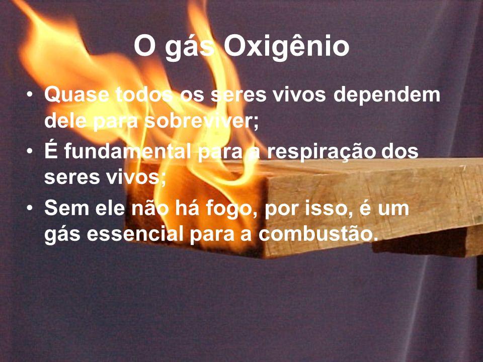 O gás Oxigênio Quase todos os seres vivos dependem dele para sobreviver; É fundamental para a respiração dos seres vivos;
