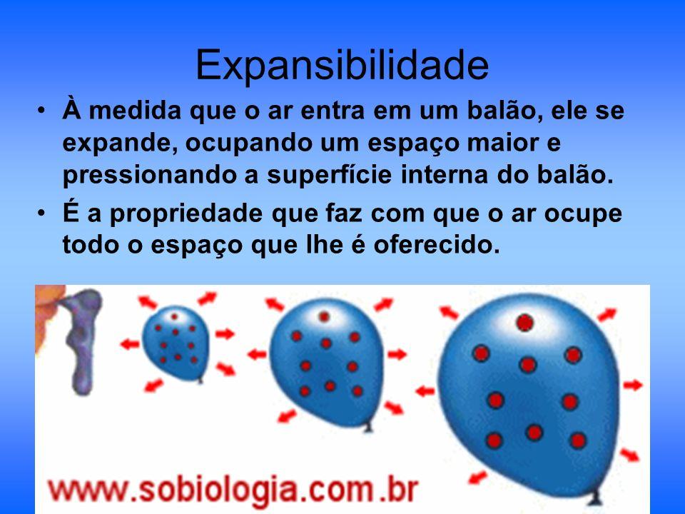 Expansibilidade À medida que o ar entra em um balão, ele se expande, ocupando um espaço maior e pressionando a superfície interna do balão.
